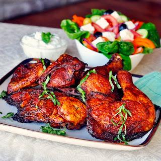 Souvlaki Roast Chicken with Lemon Mint Tzatziki.