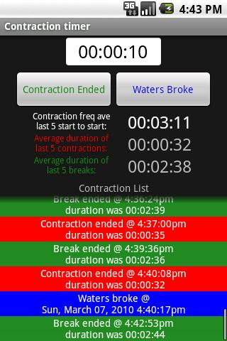 Pregnancy Contraction Timer - screenshot
