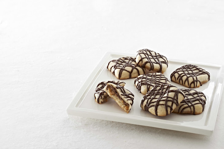 Sugar Cookies with Caramel Pockets and Chocolate Drizzle Recipe