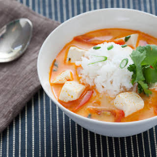 Coconut-Poached Tofu with Lemongrass and Red Curry.