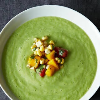 Chilled Cucumber and Avocado Soup with Mango Salsa.