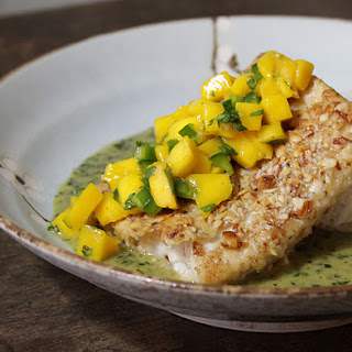 Almond Crusted Mahi Mahi with Coconut Basil Sauce.