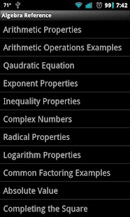 Algebra Reference - screenshot thumbnail