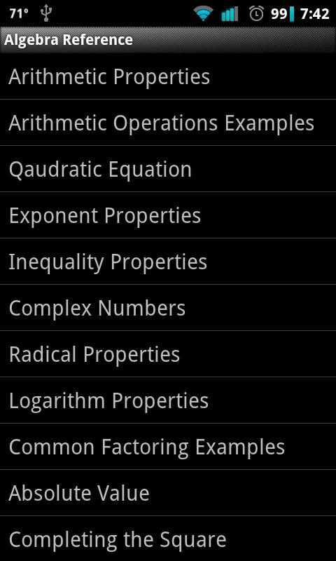 Algebra Reference - screenshot