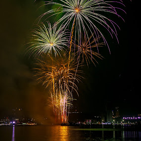 Fireworks Competition Pattaya. by John Greene - News & Events Entertainment ( colourful, thailand, fireworks, show, pattaya )