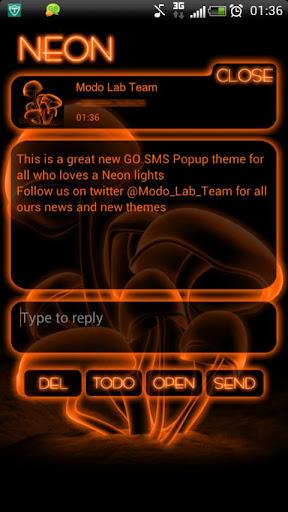 Orange Neon GO Popup theme