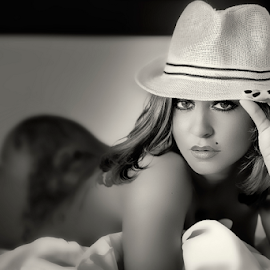 You can leave your hat on by Andrei Grososiu - People Portraits of Women ( nude, woman, light, black&white, hat )