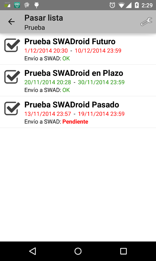 SWADroid: captura de pantalla