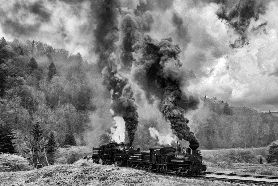 Two Steam Engines in Black and White. by Vicki Pardoe - Transportation Trains ( steam engine, west virginia, cass, steam train, train )