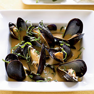 Coconut and Basil Steamed Mussels.