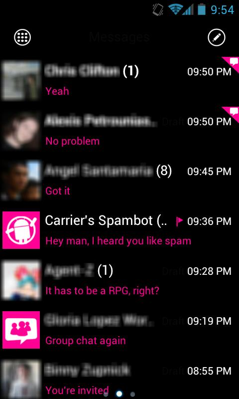 GOSMS WP7 Pink Theme Free - screenshot