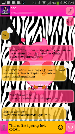 GO SMS - Zebra Owl Loves