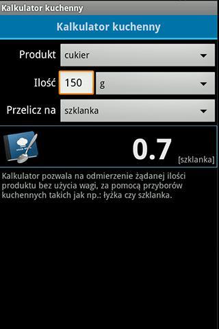 Kalkulator kuchenny- screenshot