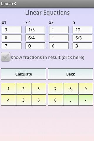 Linear Equation System Solver- screenshot