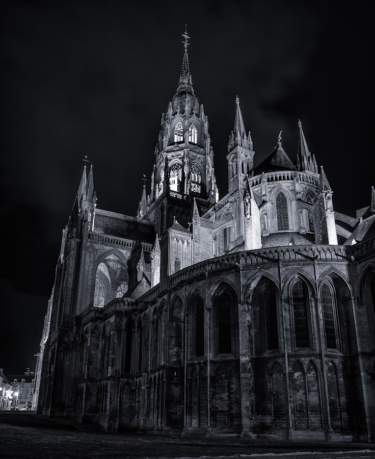 Bayeux Cathedral BW by Byran Forbes - Black & White Buildings & Architecture ( black and white, 2014, cathedral, france, normandy, d-day )