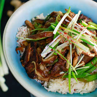 Beef Teriyaki with Green Beans and Green Onions.