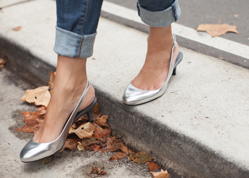 Shiny silver soft leather slingbacks