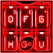 GO Keyboard Red Tech Theme