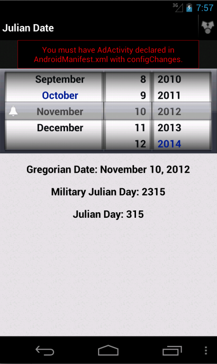 Julian Day Calandar- screenshot