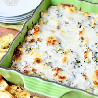Skinny Cheesy Spinach, Artichoke, and Mushroom Dip.