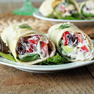 Creamy Greek Salad Sandwich Wraps with Optional Chicken (+ a Food Writing Workshop!)