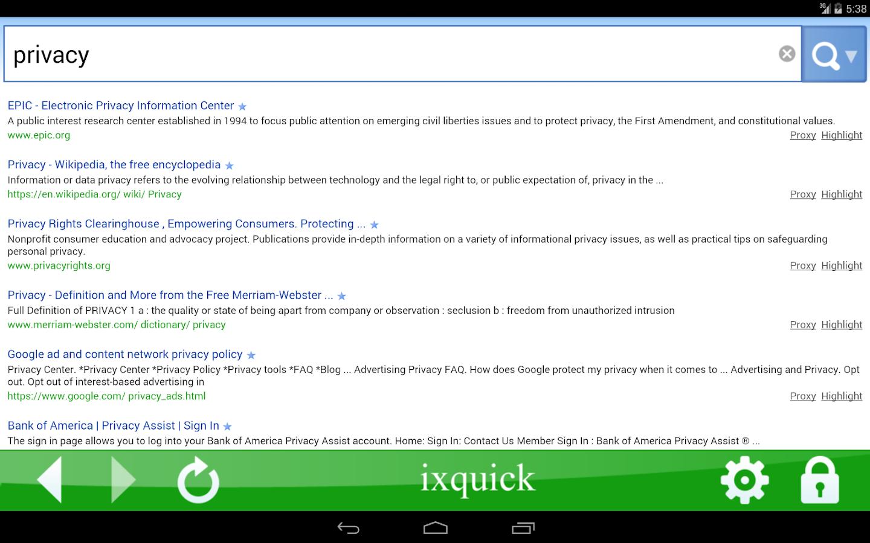 Ixquick search screenshot