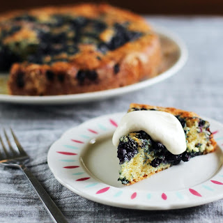 Lemon-Blueberry Yogurt Cake with Lemon Cream.