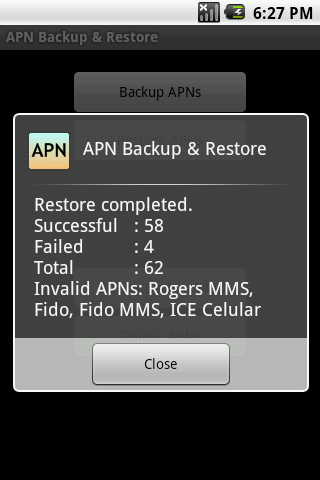APN Backup & Restore: captura de pantalla