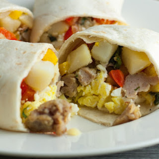 Freezer Breakfast Burritos With Sausage, Peppers, And Feta