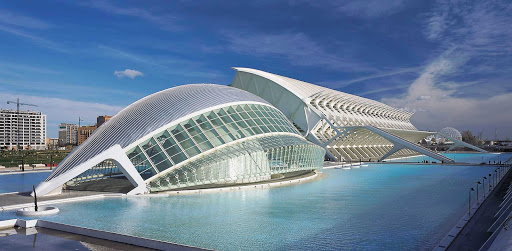 Ciudad-de-las-Artes-y-las-Ciencias-Valencia-Spain - City of Arts and Sciences (Ciudad de las Artes y las Ciencias) is a display of arts, culture and architecture featuring eight buildings as well as scenic areas throughout. It's one of the most popular attractions in Valencia, Spain.