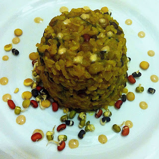 Autumn Rice with Baby Spinach, Peas and Sprouted Mung& Lentils Recipe