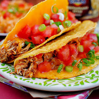 Crock Pot Chicken Tacos with Mexican Rice.