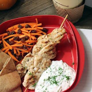 Chicken Kebab with Carrot-Raisin Salad and Greek Yogurt Sauce (Tzatziki).
