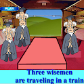 Puzzle 3 wise men in a train icon