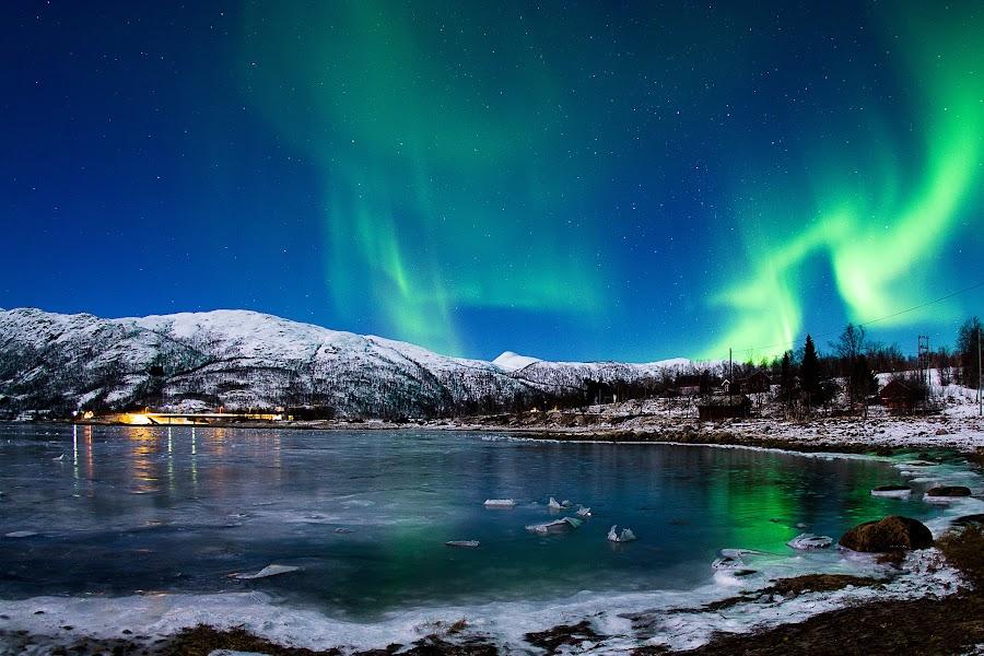 Slure by Rune Nilssen - Landscapes Starscapes ( water, northlight, green, aurora, pentax, norway, lodingen, fjord, k-3, winter, cold, borealis, ice, snow, kanstad, dance,  )