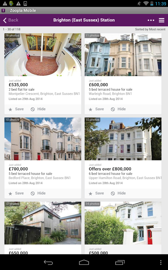 Zoopla Property Search- screenshot