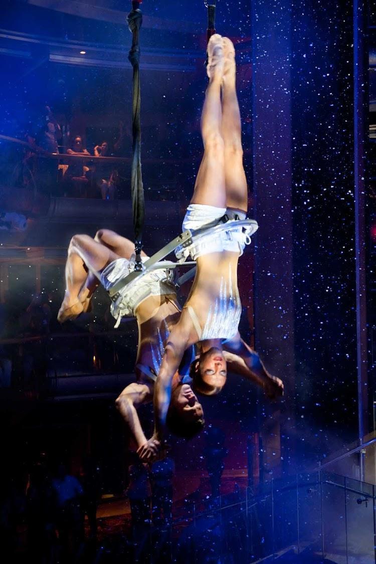 Entertainment at Grandeur of the Seas' Centrum features spectacular aerial shows.