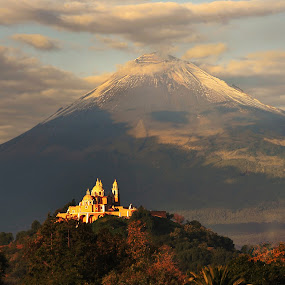 Church and Popocatepetl by Alfredo Garciaferro Macchia - Landscapes Mountains & Hills ( cholula, mexico, popocatepetl, smoking volcano )