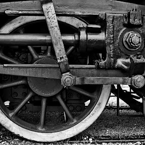 Steam locomotive piston by Matevz Skerget - Black & White Objects & Still Life ( wheel, black and white, piston, bw, train, steel, steam )