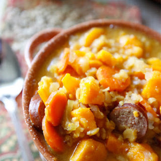 Hearty Split Pea Sausage & Sweet Potato Soup