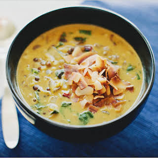 SPICED LENTIL SOUP WITH COCONUT MILK.