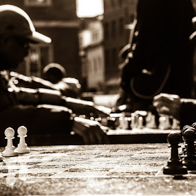 Intense matchup by Ethan Fox Miles - City,  Street & Park  Street Scenes ( streets of new york, monochrome, chess, streets, new york, nyc, game, people )