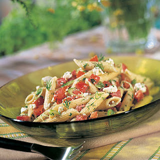 Greek-Style Penne with Fresh Tomatoes, Feta, and Dill Recipe