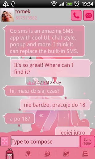 GO SMS Pro Pink Girl Theme