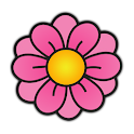 Pink FLower Clock Widget icon