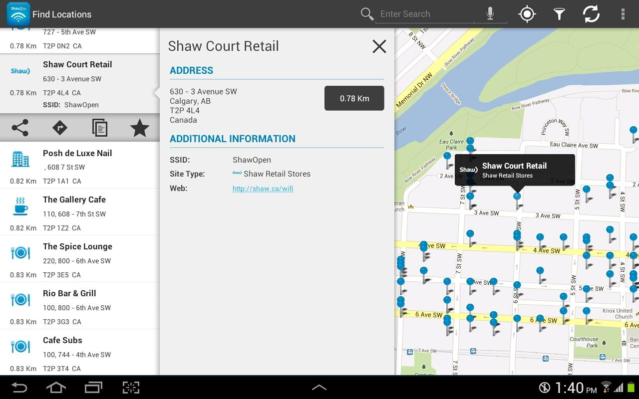 Shaw Go WiFi Finder - screenshot