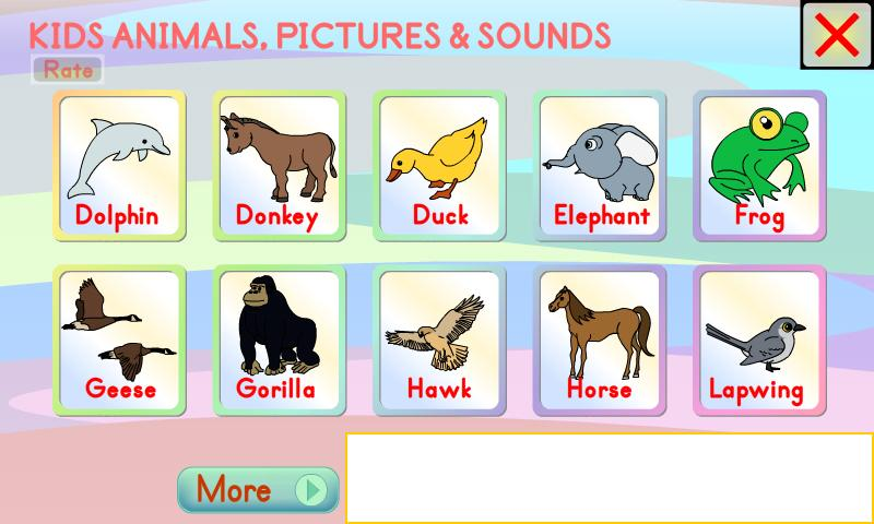 kids animals pictures sounds screenshot