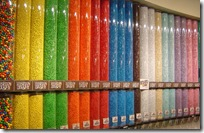 a rainbow wall of M&M's