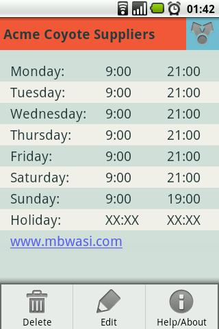 Opening Hours - screenshot