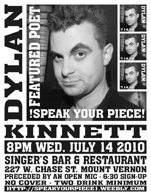 Flyer for Speak Your Piece with Dylan Kinnett